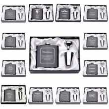 1 Satz Gravur 6 unze Flachmann Edelstahl Mit White & Black Box Geburtstag Valentinstag Geschenk hochzeit Gefälligkeiten