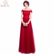 100% Real Picture Burgundy robe de soiree vestido de festa Lace Evening Dress Off the Shoulder Pink Formal Prom Dresses Party