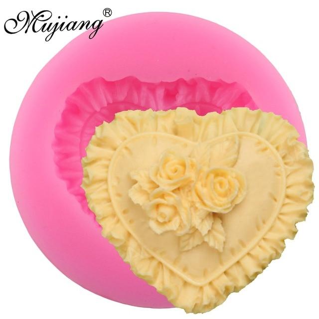 Mujiang Cuore Rosa di Pizzo Stampi In Silicone Del Bigné di Cerimonia Nuziale De