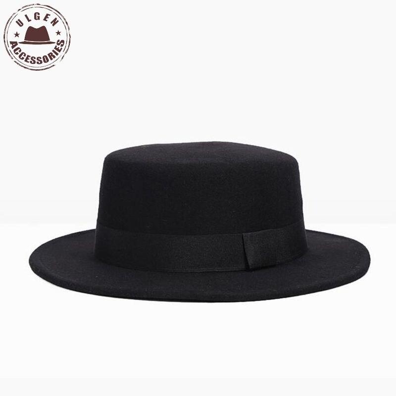 New Retro Wool Felt Pork Pie Hat BREAKING BAD Hat <font><b>for</b></font> Men Women Cheap Black Ribbon Band Bowler <font><b>fedoras</b></font> <font><b>for</b></font> men