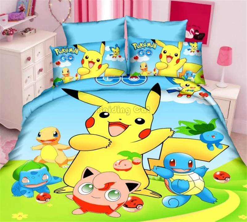 2018 Cartoon Pikachu Pattern Bedding Set Boy/Girls Baby Single Twin Full Bed Linens Kids Duvet Cover Set Bed Sheet Pillowcases