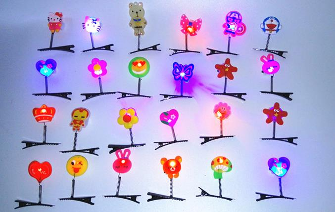 LED Light up Hair Clip Flash Barrettes Christmas Party Costume Playful Spring Beak Hairpin glow in night Halloween Event favors