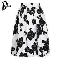 Daylook 2015 Hot Sale Autumn Wear Black White Rose Print High Waist Midi Flare Skirt Women