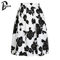 Daylook 2016 Hot Sale Autumn Wear Black&White Rose Print High Waist Midi Flare Skirt Women Casual Style New Fashion Wear