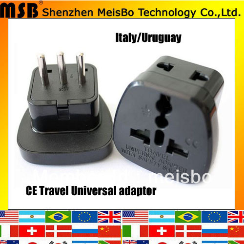 Black Universal 10A 250V ABS Material Italy Style Electric Plug Adaptor 500pcs Free Shipping By FEDEX
