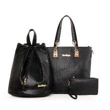 Hot Sale Alligator Leather Women Handbag 3 Set Women Handbag Women Purse Fashion Famous Brands