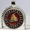 1pcs Triple Horn of Odin Viking pendant jewelry Glass Cabochon Necklace