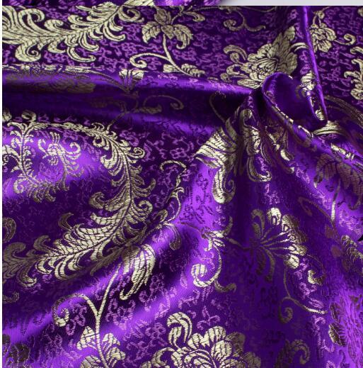 Indigo Colour Baroque Floral 100/% Cotton Damask Fabric By Saxon Mill