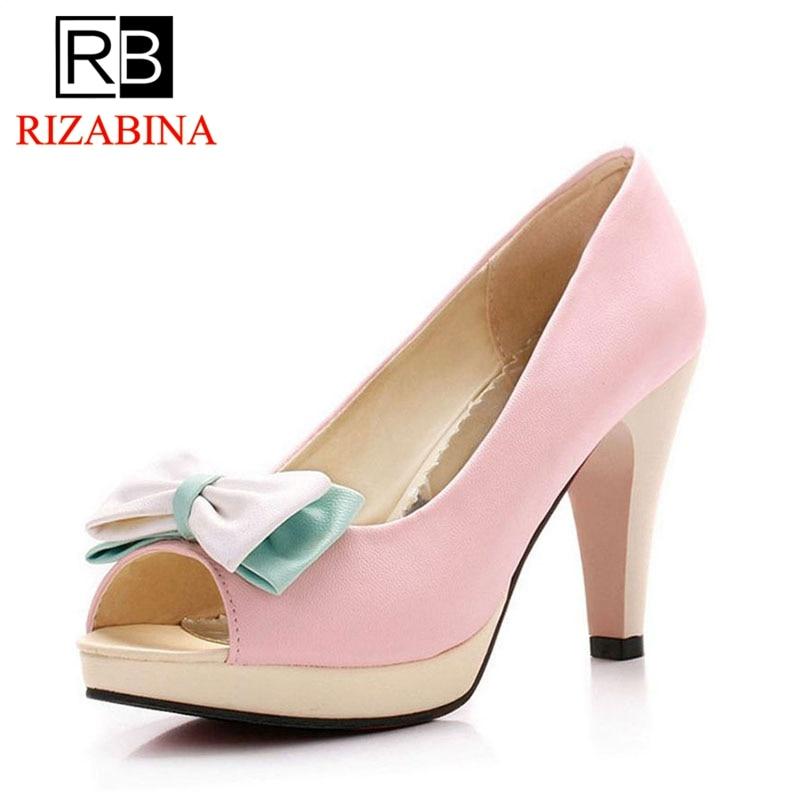 Talon E Peep rose blanc Mode Partie Club Toe Rizabina Pompes Chaussures Femmes Bleu Taille Bowtie Bownot 33 43 Haute px40C7