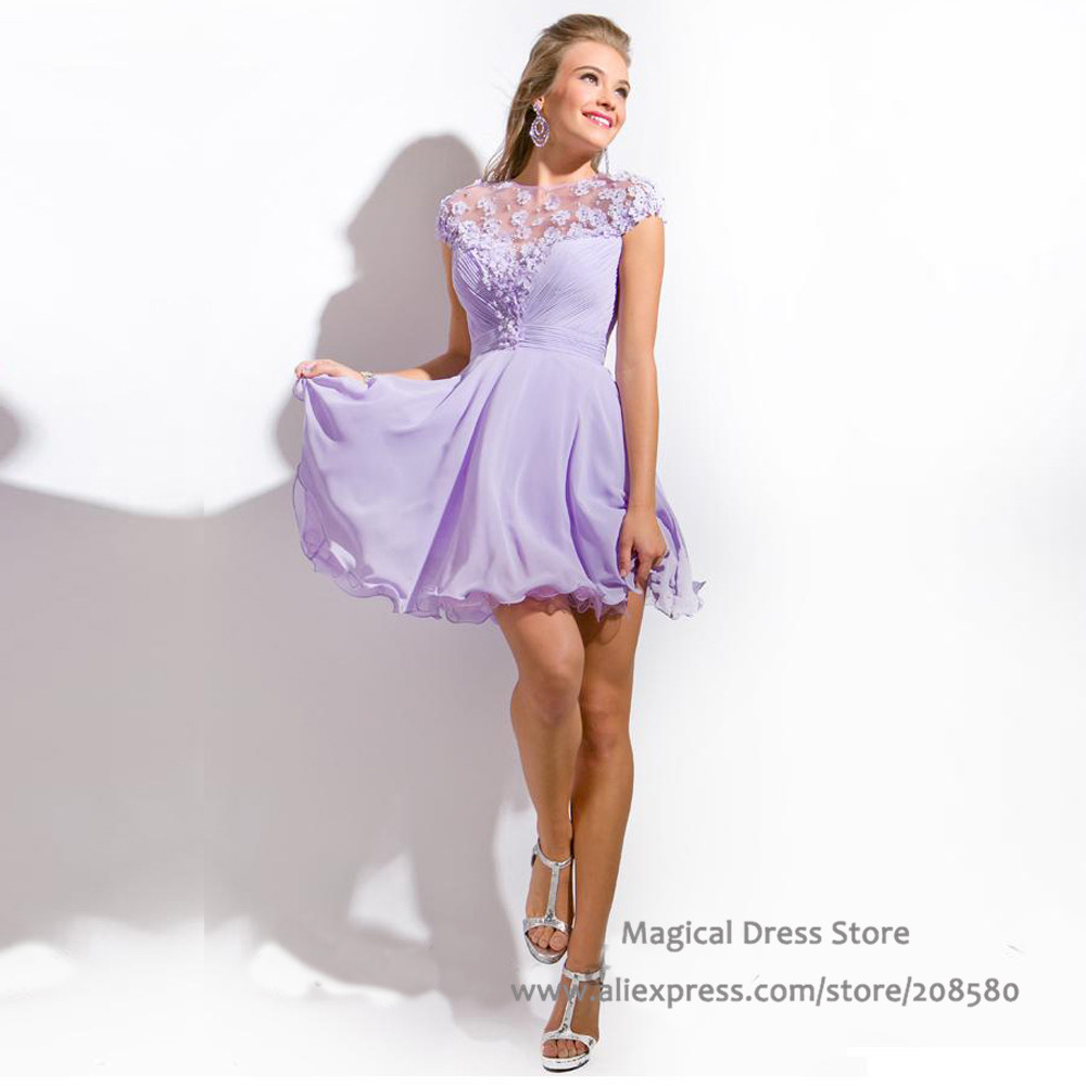 Lilac Cocktail Dresses - Homecoming Prom Dresses