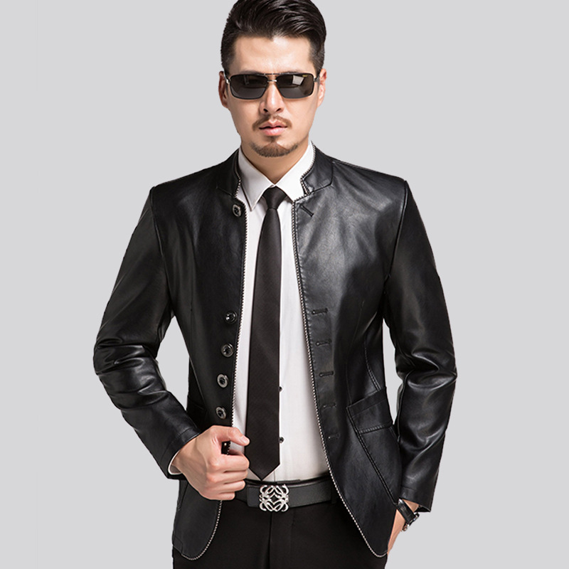 Spring Autumn Slim Fit Faux Leather Jacket Mens Leather Jackets Casual Coats Stand Collar Men PU Leather Multi button Overcoat