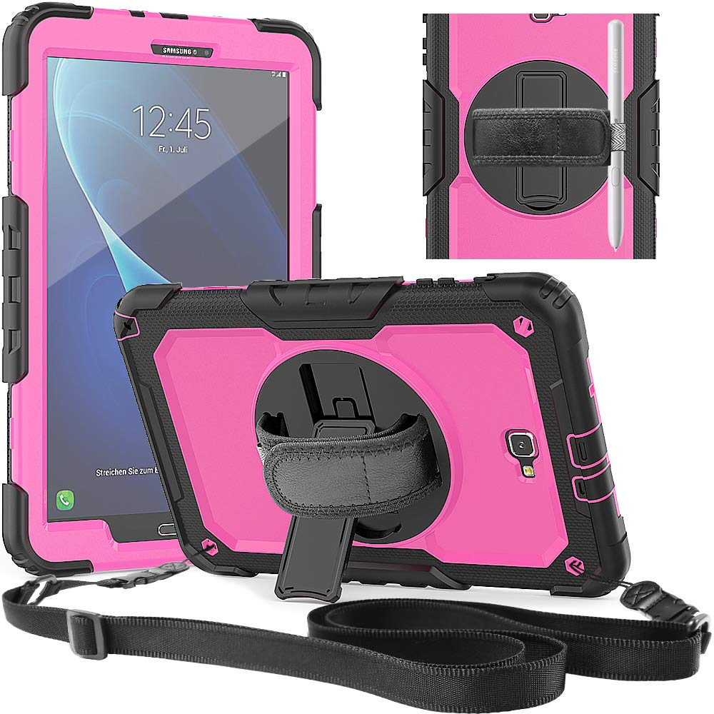 For Samsung Galaxy Tab A 10.1 Case A6 2016 Sm-t585 Sm-t580 Rugged Hand Shoulder Strap Shockproof Cover Built-in Screen Protector Can Be Repeatedly Remolded. Tablets & E-books Case