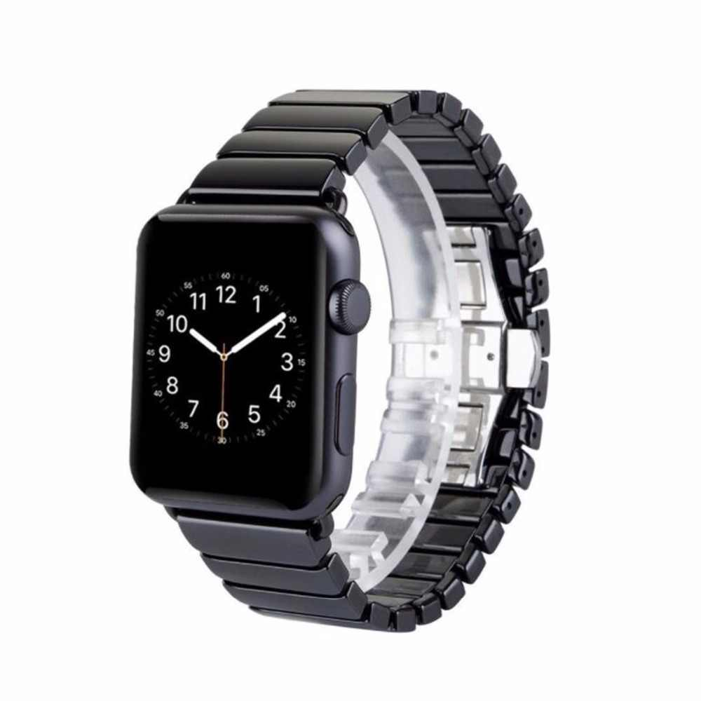 Black/ White Ceramic strap for Apple Watch Series 4 3 2 1 38mm 42mm 40mm 44mm Replacement Wristband Bracelet
