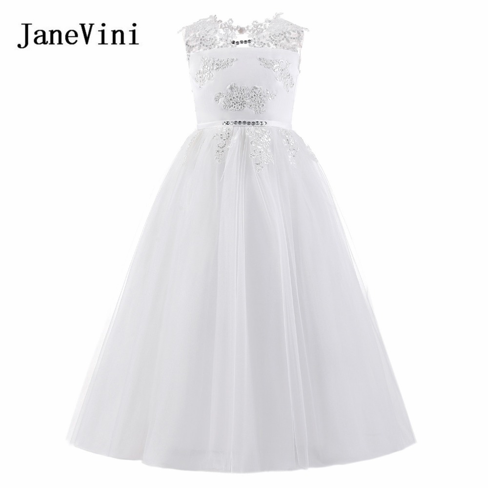 JaneVini Satin White   Flower     Girl     Dresses   For Wedding A-Line Lace Sequined Communion   Dresses   Floor Length Kids   Dresses   2-14 Years