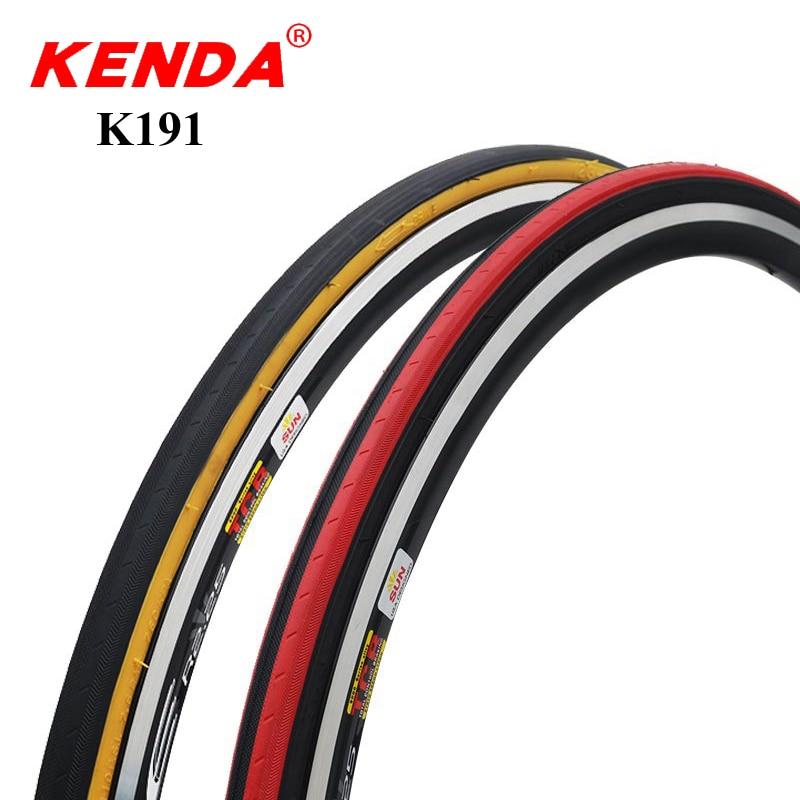 купить KENDA retro bicycle tires 700C road bike tire pneu 700 23C ultralight 430g racing fixie bike tyres red yellow side 110PSI недорого