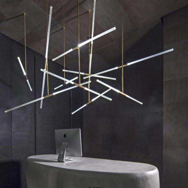Post Modern Long Tube Branch LED Pendant Light Loft Hanging Lamp Office Bar Track Lamp Restaurant Showroom Shop Hanglamp Light