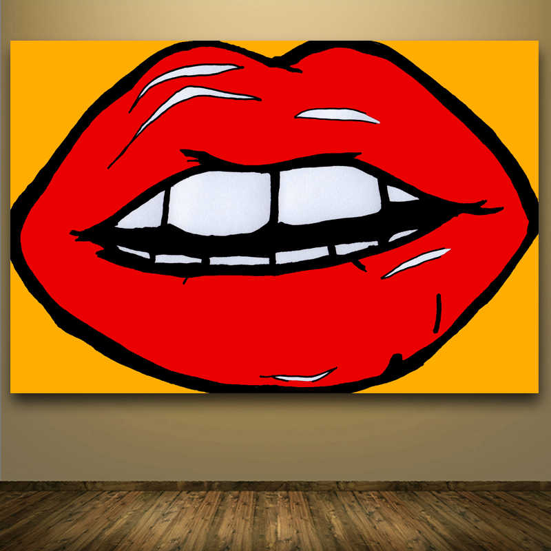 Hotsale Canvas Art Big Red Lips Abstract Painting Wall Art Canvas Handmade Oil Painting For Living Room Decoration As Best Gifts