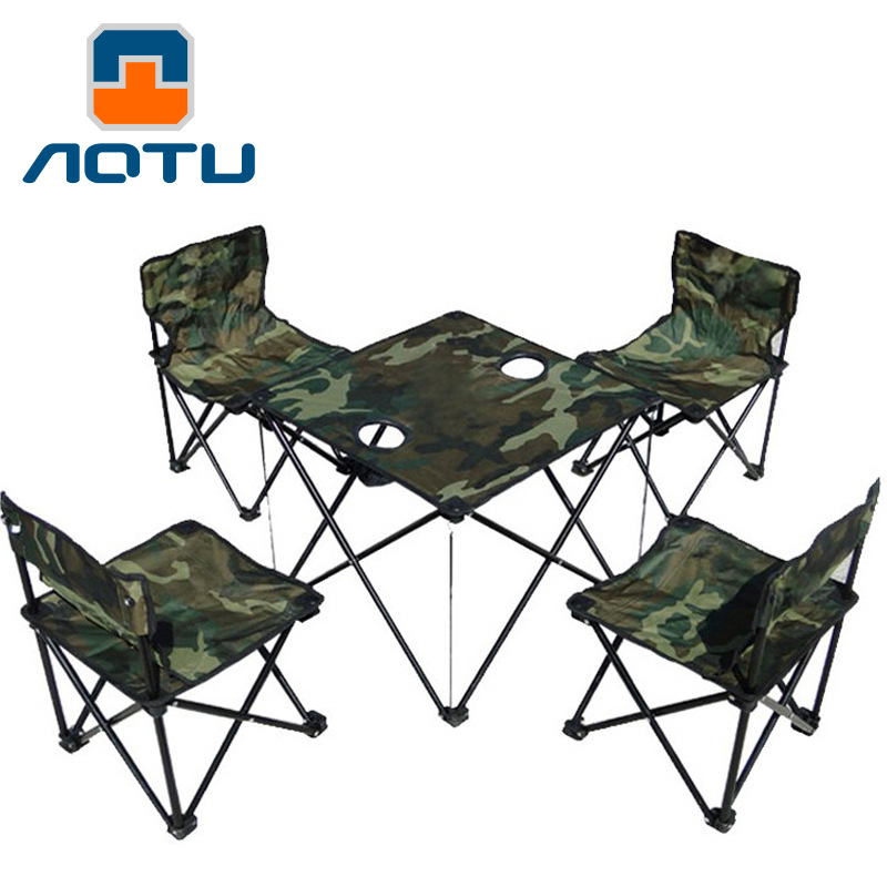AOTU 5 in 1 portable backpack outdoor folding tables and chairs camouflage suit fishing chair for a picnic 544 the new portable outdoor folding table chairs aluminum suitcase suit
