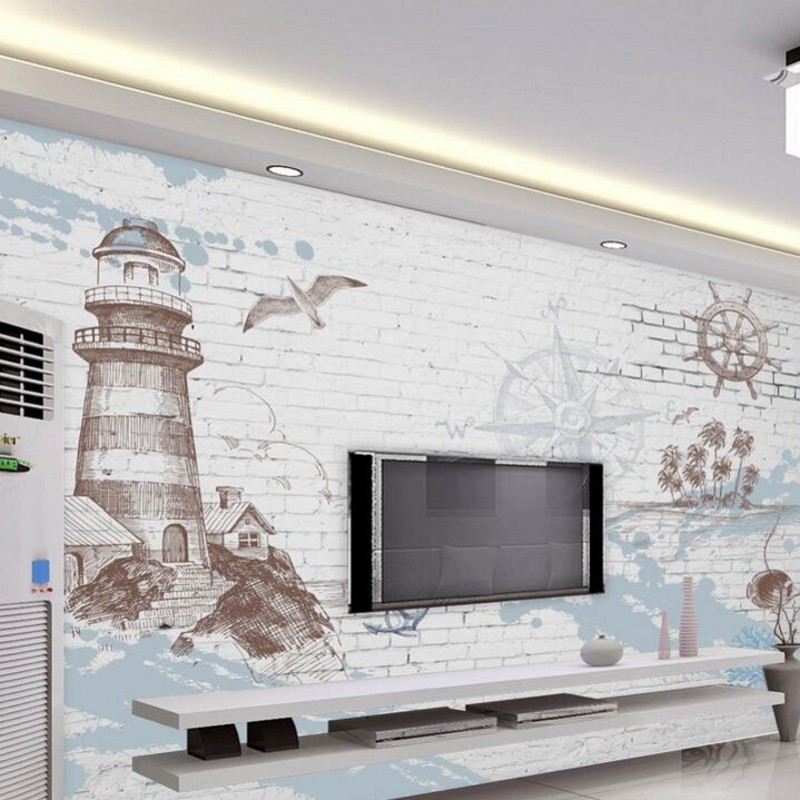 Beibehang 3D photo mural retro nostalgia nautical lighthouse wallpaper TV backdrop decorative painting wallpaper for walls 3d book knowledge power channel creative 3d large mural wallpaper 3d bedroom living room tv backdrop painting wallpaper