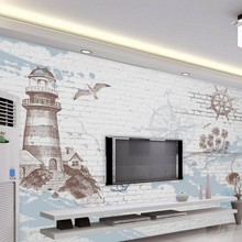 3D stereoscopic photo mural retro nostalgia nautical lighthouse wallpaper TV backdrop decorative painting for walls 3d