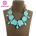 Pretty Handmade Chunky Turquoise Statement Necklace Trendy Thick Chain Turquoise Bib Jewelry  2pcs/lot TN086
