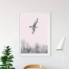 Modern Forest Trees Landscape With Flying Birds Poster Print Canvas Painting Home Wall Art Decoration Picture Can Be Customized