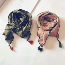 Корейское повседневное хлопковое покрывало, мягкое теплое осенне-зимнее тонкое детское шаль для мальчиков и девочек, шарфы, Accessories-KSVLH010F