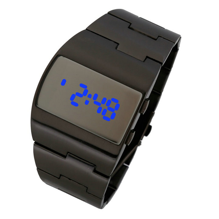 New luxury fashion brand men s stainless steel sports watch LED electronic digital