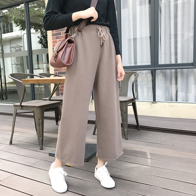 2019 Autumn Winter   Pants   Women Korean Style Streetwear Casual Lace Up High Waist   Wide     Leg     Pants   Khaki Black Ladies Trousers B281
