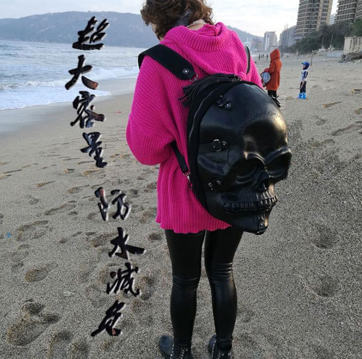 Bagaj ve Çantalar'ten Sırt Çantaları'de Yeni stereo kafatası çantası 3D kabartmalı evil pu sırt çantası Cadılar Bayramı komik püskül bilgisayar çantası Punk Kabartma sırt çantası mochilas mujer erkekler çanta'da  Grup 1