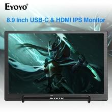 Eyoyo 8.9 بوصة المحمولة USB C شاشة صغيرة 1920x1200 IPS عرض ث/USB C و HDMI إدخال الفيديو متوافق مع ماك كمبيوتر محمول