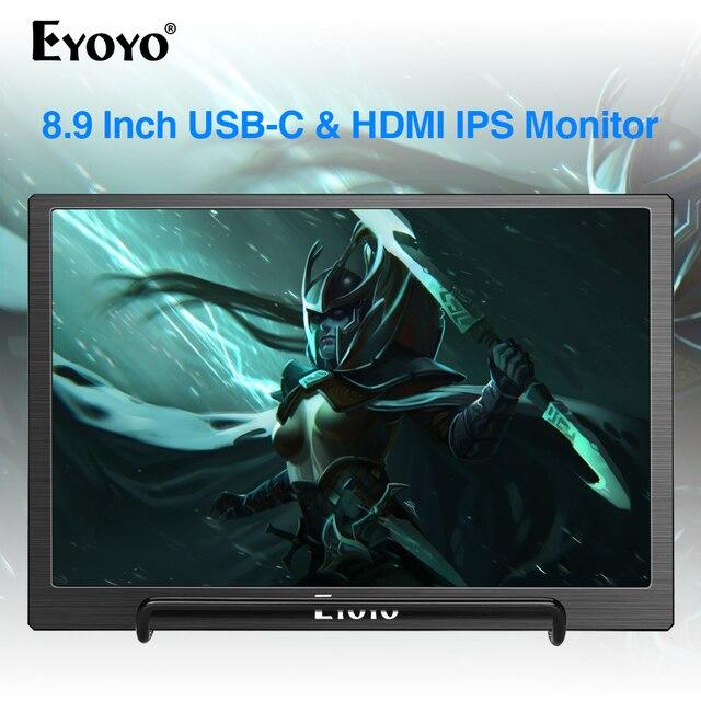 Eyoyo 8.9 inç taşınabilir USB C Mini monitör 1920x1200 IPS ekran, USB C ve HDMI Video girişi uyumlu MAC dizüstü bilgisayar