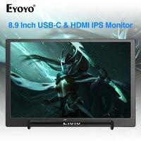 Eyoyo 8.9 inch Portable USB C Mini Monitor 1920x1200 IPS Display w/ USB C&HDMI Video Input compatible with MAC Laptop
