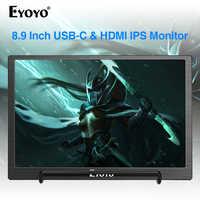 Eyoyo 8,9 inch Tragbare USB-C Mini Monitor 1920x1200 IPS Display w/USB-C & HDMI Video Eingang kompatibel mit MAC Laptop