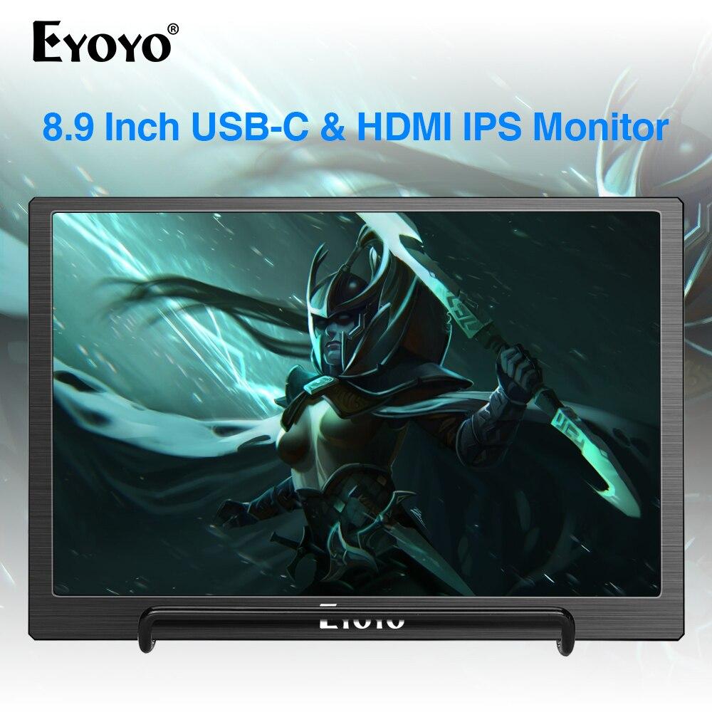 Eyoyo 8.9 polegada portátil USB-C mini monitor 1920x1200 ips display com USB-C & entrada de vídeo hdmi compatível com mac portátil