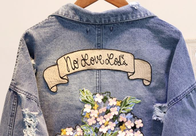 Étudiant Court Printemps 2018 Manteau Trous Femme Brodé Outwear Bleu Dames Filles Veste Rue Automne Jean Denim Femmes Manteaux FUanHYU