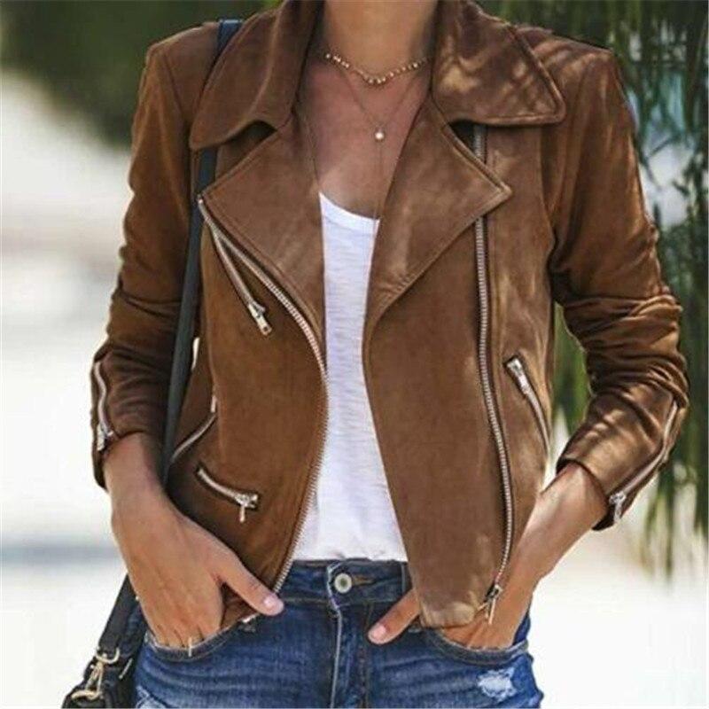 2019 Ladies Women's Suede Leather Jacket Flight Coat Zip Up Casual Tops Clothes Zipper Basic Coat Turn-down Collar Biker Jacket