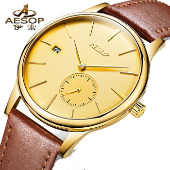 AESOP Simple Design Automatic Watch Men Waterproof Transparent Sapphire Glass Stainless Steel Golden Clock Calendar On Left aesop 100ml