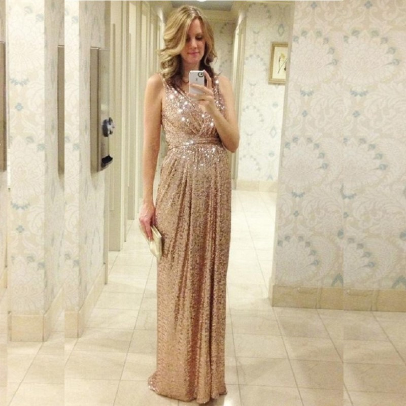 2017 Sequins   Bridesmaid     Dresses   Rose Gold/Champagne Floor Length Maid Of Honor Custom Made Maternity Pregnant Long Plus Size