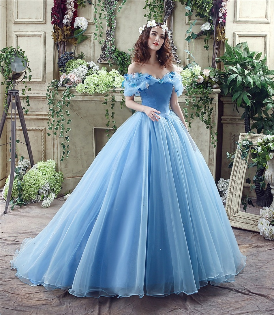 Simple real photo cheap princess blue wedding dress ball for Real simple wedding dresses