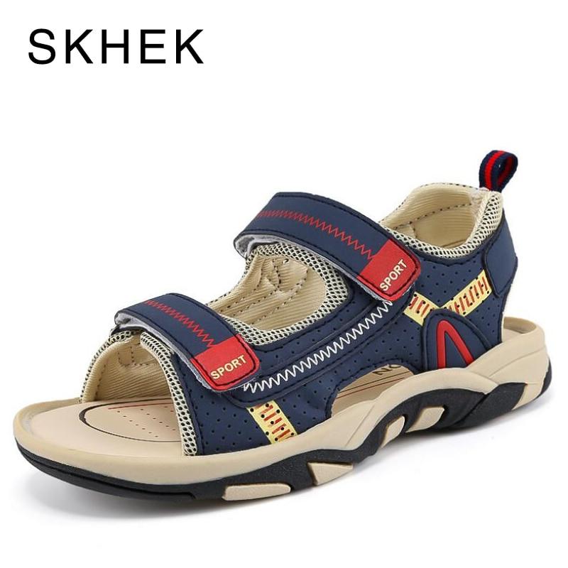 SKHEK New 2018 Leather Sandals Boys and Girls Summer Beach Shoes Little Children Sport Sandals For Kids Size EUR 25-36