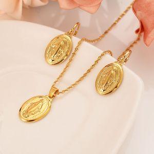 Мать Девы Марии ожерелье кулон серьги набор 14 K Твердые Тонкие Золотые заполненные католические религиозные страны набор подарок для женщи...