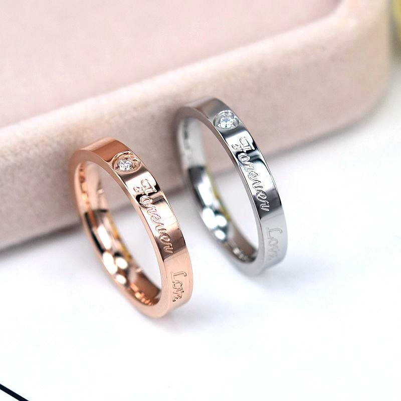 Top Quality Concise Zircon Wedding stainless steel material Rose Gold love forever engagement Ring Never Fade Jewelry