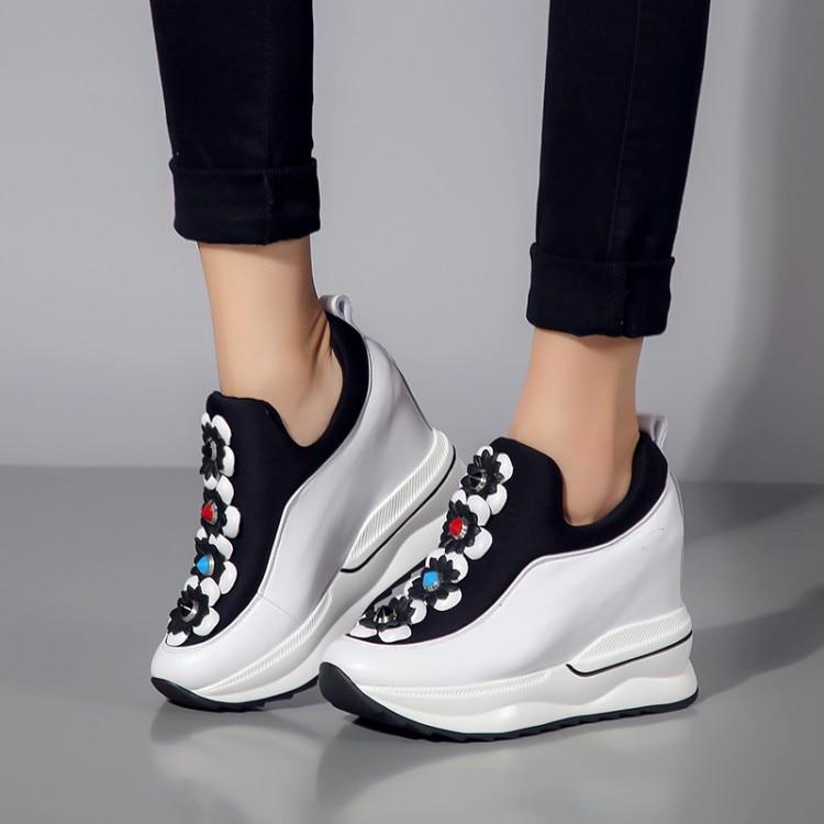 Aumento De Tobillo blanco Moda Cuñas Cuero Plataforma Zapatillas Deporte Altura Flor Botas Genuino Zapatos Mujer {zorssar} Casuales Negro 7R6xq4w15T