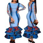 African Dress for Women Hollow Bandage Long Sleeve Mermaid Maxi Dresses Women Plus Size Sexy Backless Wedding Party Dress WY426