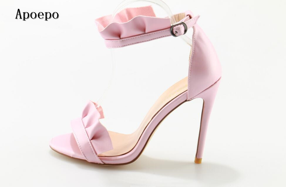 Apoepo Brand Pink Leather Ruffles Decorations high heel sandal 2018 summer sexy open toe buckle strap shoes woman sandal 2017 newest summer black brown leather sandal for woman sexy open toe flat crystal sandal sequins bead t strap buckle shoes