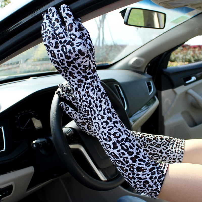 Women Leopard Gloves Long Sunscreen Glove Woman Summer Spring High Elastic Thin Anti-UV Driving Gloves Opera Glove Elbow