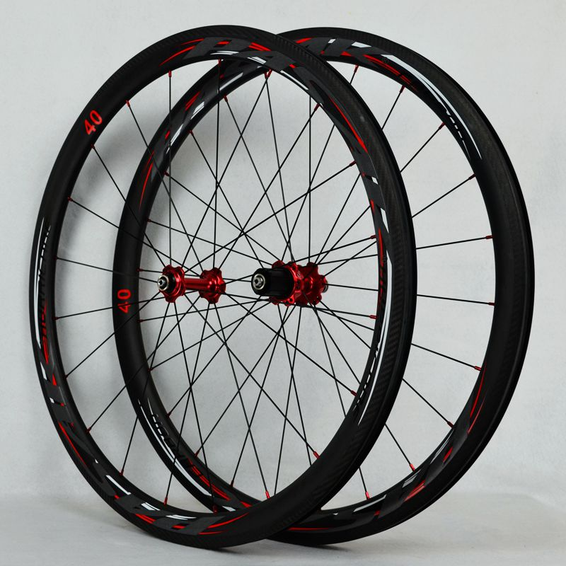 Road bike wheelset carbon fiber road wheel set 700C fat circle sealed bearing bicycle wheels 40mm rim 2017 limited promotion bike wheels full carbon fiber wheels road bike 40mm 700c rim front 20 holes rear 24 wheelset hot sale