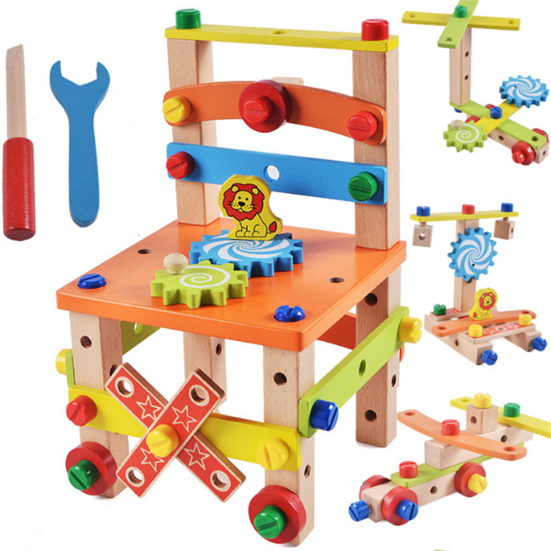 Children Removable Wooden Toys Multifunctional Chair Assemble Chair Toy Educational Toy For Children Assembly Blocks Toy