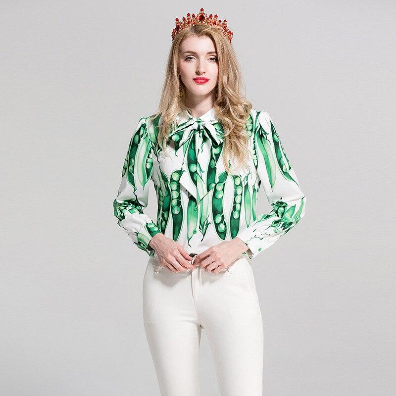 2017 Haricots Printemps Haute Taille B772 Chemises Designer Vert La Qualité Plus Manches Blouses Femmes Imprimer Et Tops Casual Bureau De Piste Longues Arc xOzvg